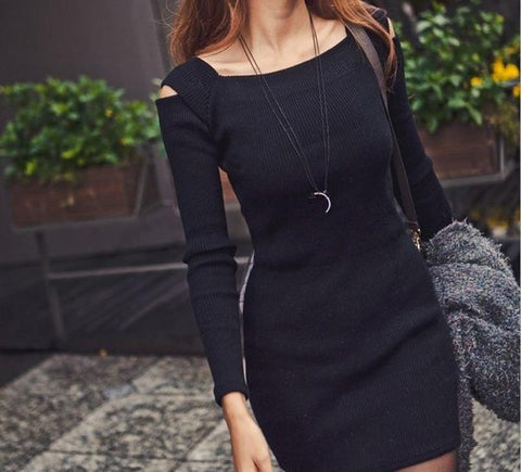 Sexy Dress Women's Off Shoulder Long Sleeve Knitted Casual Bodycon Pencil Party Dresses Mini Vestidos CL1114