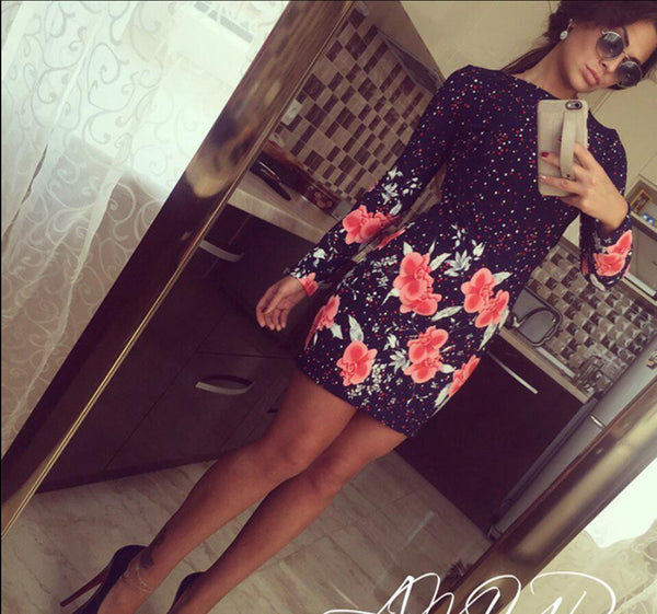 Style Bodycon Dresses Vintage Ladies Sexy Fitness Floral Print Long Sleeve O Neck Dress Party Vestidoes