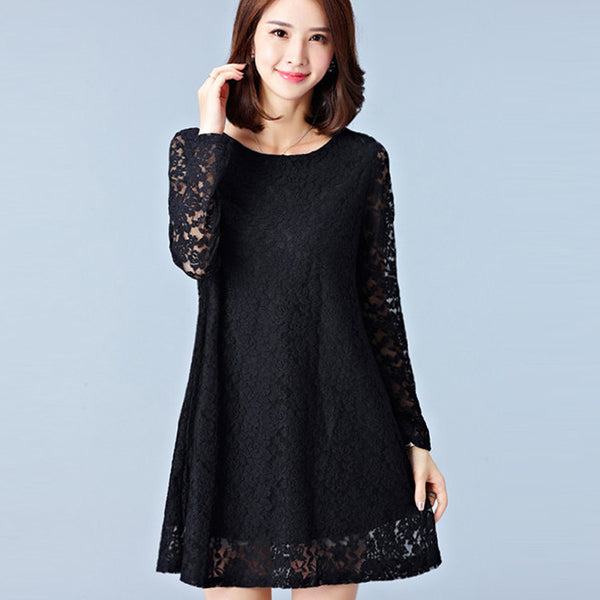 Online discount shop Australia - Dresses Plus Size Women Clothing Hollow Out Lace Dress Long Sleeve Ladies Office Dress Black #F139