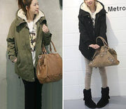 Women Coat Long Sleeve Zipper Thicken Fleece Hooded Parka Overcoat Jacket Outerwear Plus Size Clothing