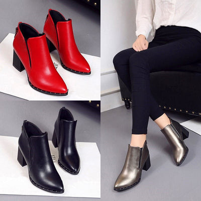 Online discount shop Australia - Martin Boots Women Casual Leather Boots Pointed Toe Buckle Warm Plush Women Ankle Boots