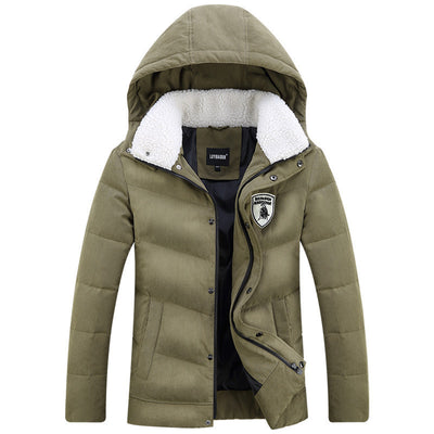 Online discount shop Australia - Men's White Duck Down Jacket Casual Solid Turn-dwon Collar Parka Jacket Men Fashion Overcoat Outerwear
