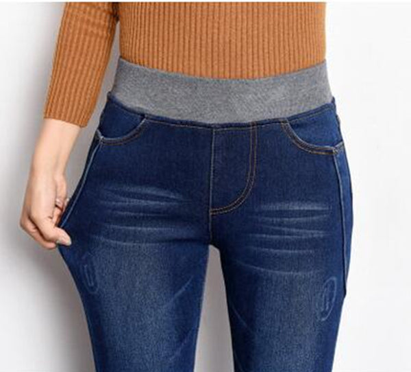 01182027a39 Jeans Women Gold Fleece Inside Warm Jeans Pants Winter Thickening Elastic  Waist Pencil Pants Fashion Denim