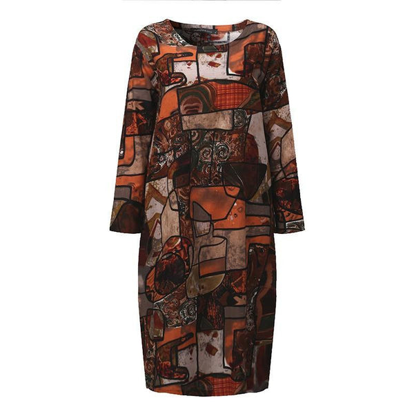 c37b3a89785f ZANZEA Women Autumn Oversized Vintage Print Dress Casual Loose Long Sleeve  O Neck Mid-calf