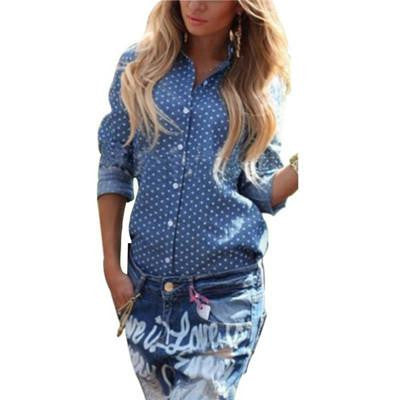 Women Clothes Polka Dot Blouse Button Long Sleeve Woman Blouses Shirts Womens Clothing