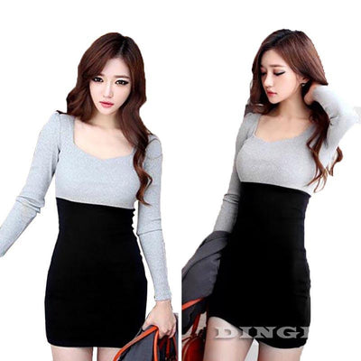 Women Long Sleeve Sweater Dresses Bodycon Pencil Casual Knitwear Autumn Winter Clothing Mini Dress CL1354