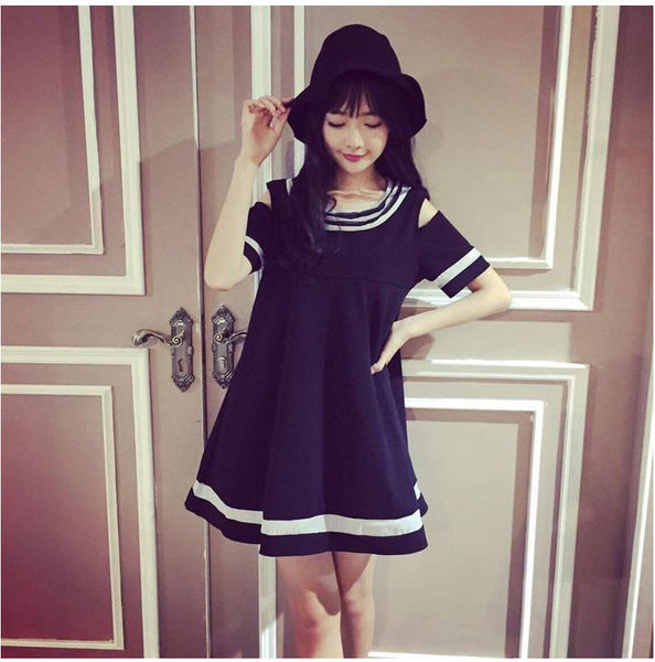 Online discount shop Australia - College Fashion Strapless Lolita Dress Girlfriends Sisters Clothes Thin Black White Female Doll Dress V101
