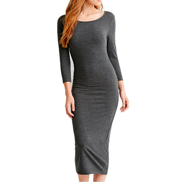 Online discount shop Australia - Midi Dress Slim Bodycon Cotton Long Sleeve Knee Length Bandage New Autumn Black Wine Red Women Bandage Dresses Plus Size