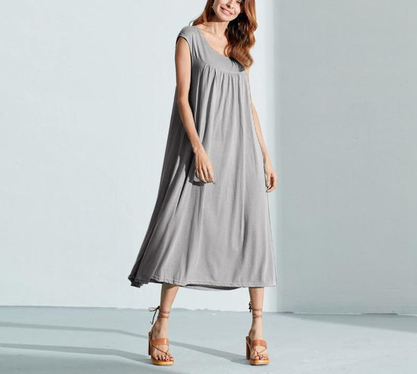 Summer Cotton Casual Loose Solid Dress O Neck Short Sleeve Beach Mid-calf Dress Vestidos Plus Size Oversized