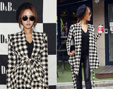 Online discount shop Australia - GZDL Fashion Women  Jacket Coat Long Sleeve Houndstooth Casual Clothing Slim Belt Peplum Cardigan Outerwear CL0271