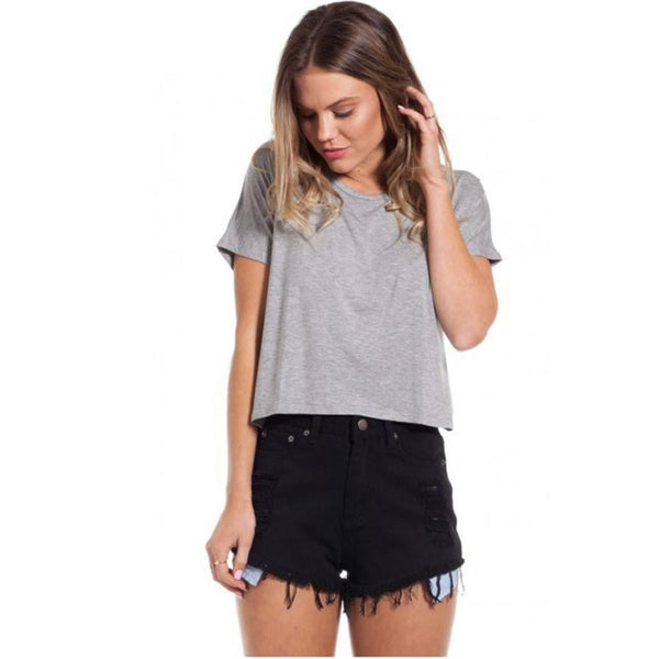 Women Tops Fashion Casual Slim Short-Sleeved O-Neck  Crop Top Cropped