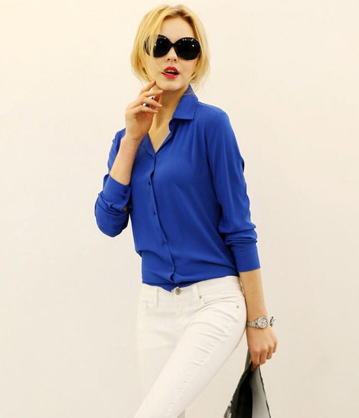 Women Shirt Chiffon Tops Elegant Ladies Formal Office Blouse 5 Colors Work Wear Plus Size XXL
