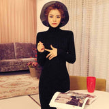 Women Knitted Turtleneck Bodycon Fitted Casual Party Slit Long Sleve Sweater Dresses Knitwear