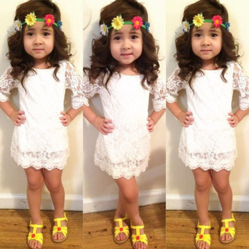 bf1fbfad683a5 Elegant Kids Baby Girls Princess Party 3/4 Sleeve White Lace Dress Outfits  2-11Y