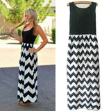 Women Summer Beach Boho Maxi Dress High Quality Brand Striped Print Long Dresses Feminine Plus Size