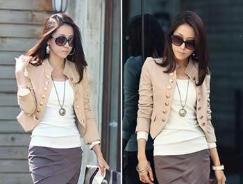 Online discount shop Australia - GZDL Women Double Breasted Jacket Long Sleeve Button Slim Fitted Cropped Top Casual Cardigan Coat Outerwear CL1076