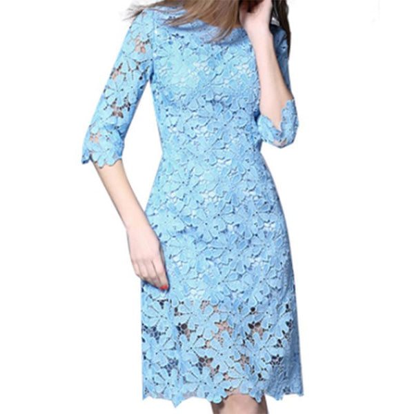 Women Lace Dress Half Sleeve Knee-Length Lace Dresses Party Winter lace Dress vestidos dresses women