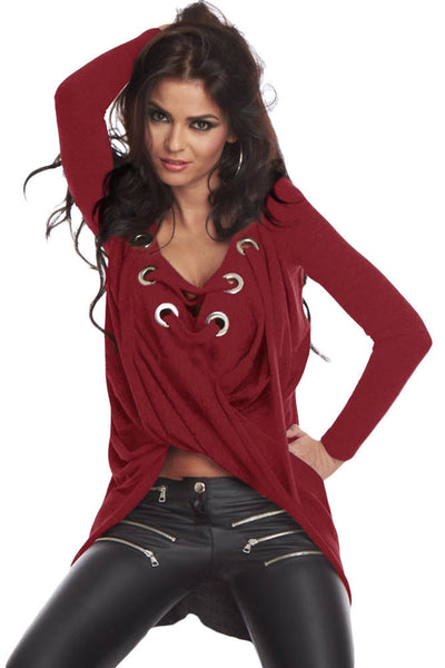 Pullover Shirt New Woman Loose    Fancy Cheap Wine Black Grey Lace Up Long Sleeve Ruched LC25738
