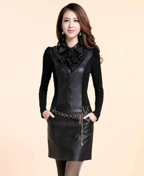 Women's Long-Sleeve PU Casual Autumn Winter Dress Large size Party Dresses