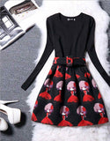 Print Dress Women Brand Long Sleeve Ladies Casual Dresses Woman