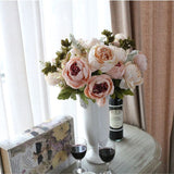 Online discount shop Australia - Artificial Flowers Silk flower Fall Vivid Peony Fake Leaf Wedding Home Party Decoration