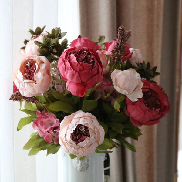 Artificial flowers silk flower fall vivid peony fake leaf wedding domokun mightylinksfo Gallery