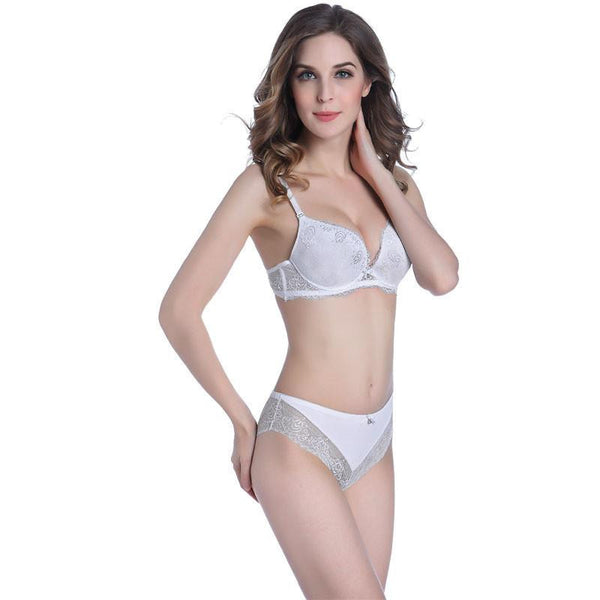 Women Lace Push Up Bra Set Top Briefs Cups Women  Lingerie Underware Sexy Panties And Bra Set