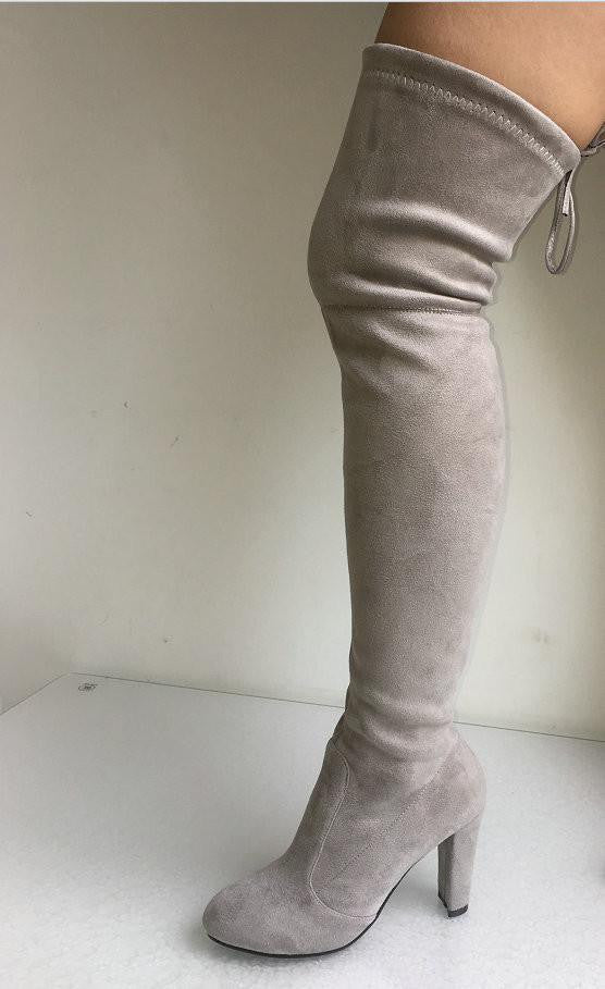 a08ab198cd2 Women Faux Suede Thigh High Boots Over the Knee Boots Stretch Sexy Overknee  High Heels Woman