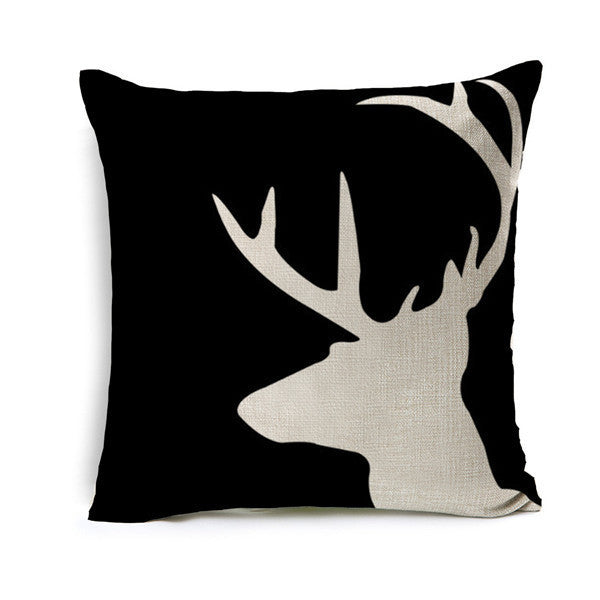 Online discount shop Australia - Deer Animal Cushion Geometric Cotton Linen Pillow Cotton Linen