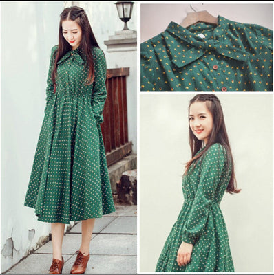 Online discount shop Australia - Cute green floral dress vintage ladies dresses Bohemian style autumn winter long sleeves all match new fashion long sleeve dress