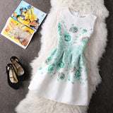 Women Summer A-line Dress Vintage Printed Sleeveless Party Vestido De Festa Female Clothing Jacquard Dresses SXDRS96