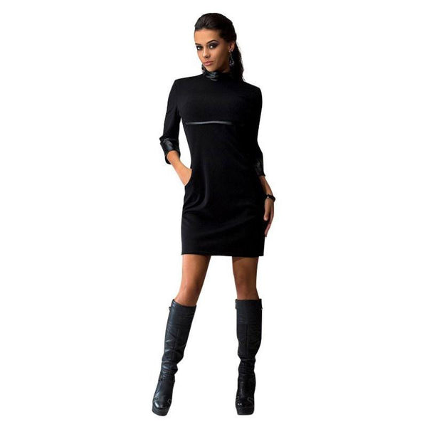 Spring Autumn Women Three Quater Sleeve Dress PU Leather Sleeve Clubwear Dress Solid Color