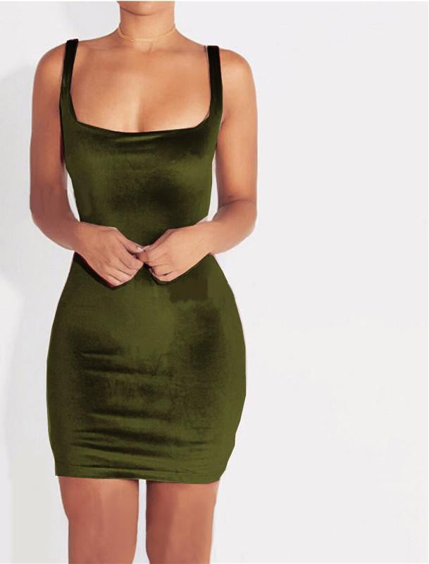 Sexy Sleeveless Backless Strap Velvet Dress Women Casual Mini Wrap Bodycon  Dress Ladies Satin Slip Short 54810a7d1