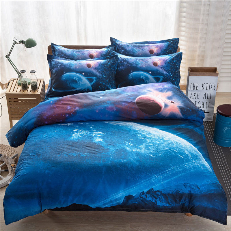 3D Galaxy Bedding Sets Universe Outer Space Themed Bedspread 2pcs/3pcs/4pcs Twin/Queen Size Bed Sheets Duvet Cover Set #W10074#S011Twin 3Pcsa