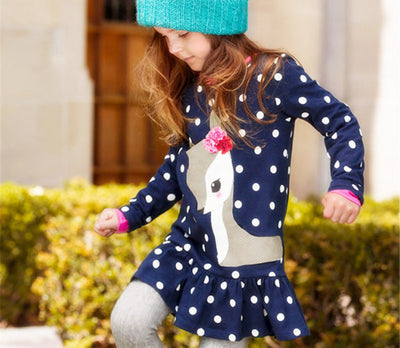 New Lovely Baby Dress Kids Girls Long Sleeve O-neck Dress One-piece Dots Deer Cotton Dresses Toddlers Clothes Kids Dress