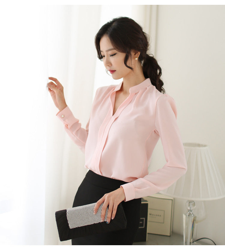 5 Colors Work Wear Women Shirt Chiffon Tops Elegant Ladies Formal Office Blouse Plus Size XXLStand Collar SkinSa