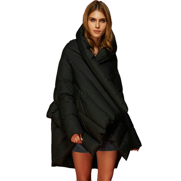 Online discount shop Australia - Fashion Women's Down Jacket Parka Cloaks European Designer Asymmetric Length Hooded Anorak Coat Female