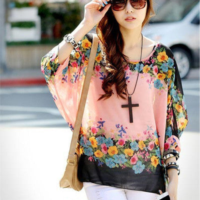 Online discount shop Australia - Boho Style Women Chiffon Blouse Floral Print Tops Shirt for Women Clothing 4XL Chiffon Shirts