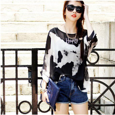 Online discount shop Australia - Chiffon Tops Novelty Ladies Floral Print Casual Loose Blouses Shirts Plus Size 4XL 5XL 6XL Women's Tops Blouses