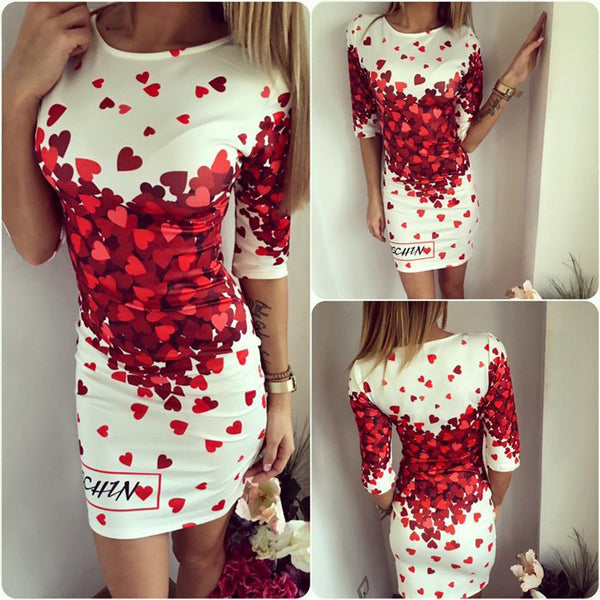 Online discount shop Australia - Love Heart Print Slim Pencil Dresses Party Plus Size Women Clothing Casual Bandage Bodycon Summer Dress Robe