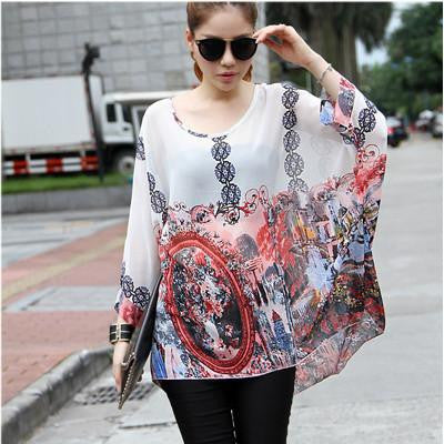 Tops Plus Size Women Clothing New Style Batwing Sleeve Women Blouses Floral Print Women's Chiffon Shirts