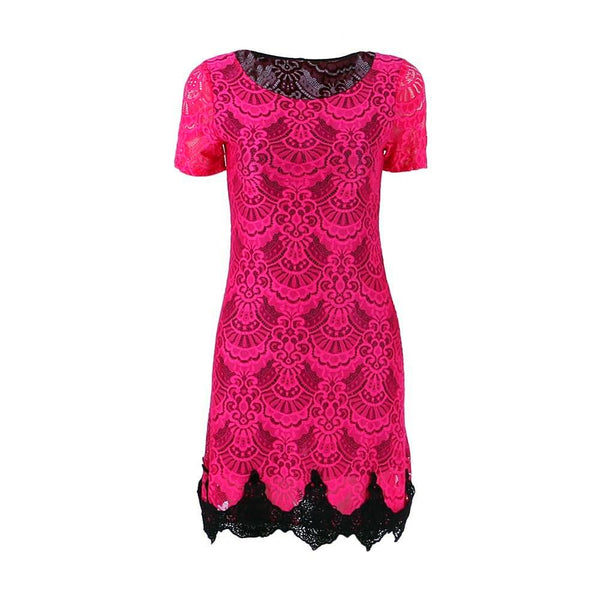 Women A-line Dress Sexy Red Hollow Out lace Dresses Casual Short Sleeve Mini