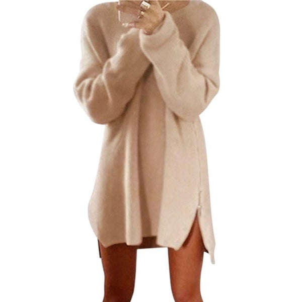 Women Winter Long Sleeve Zippers Side Jumper Tops Knitted Sweater Loose Tunic Mini Dresses