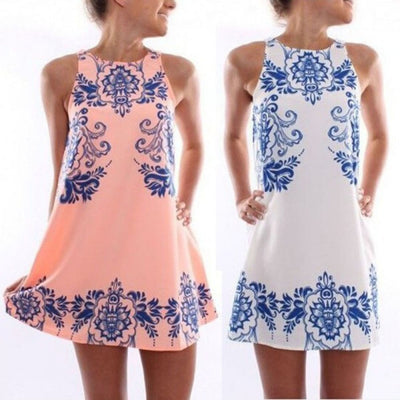 Online discount shop Australia - Chic Women Sleeveless Dress Polyester Floral Print Casual Mini Summer Dresses S-XL ZT2