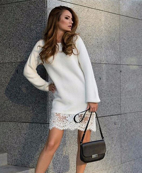 Online discount shop Australia - Gagaopt 95% Cotton Long Sleeve Lace Edge Dress for Women Spring Casual wear lady Solid Color clothes female