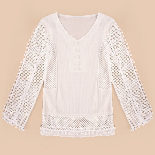 Sexy Lace Chiffon Blouse Women V-neck 3/4 Sleeve Hollow Out White Shirts Casual Loose Tops Plus Size S-3XL