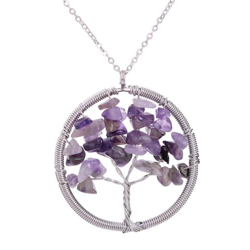 Tree of Life Necklace 7 Chakra Stone Beads Natural Citrine Amethyst Amethyst Necklace Leather Chains Women Christmas Giftsa
