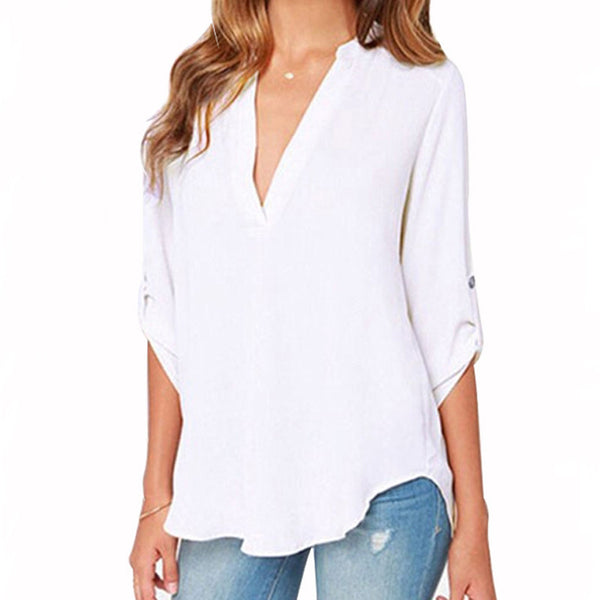 Plus Size Women Clothing New Women Solid V-neck Fashion Chiffon Cuffed Long Sleeve Casual Blouse Shirt