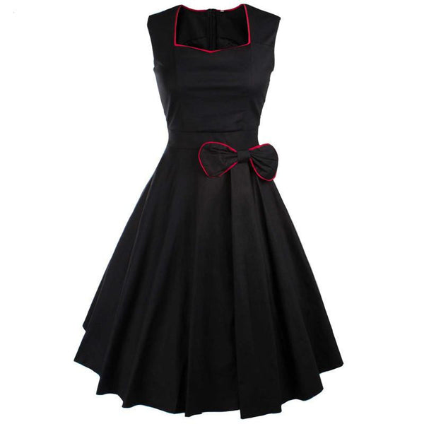 Viifaa Women Bow Vintage Dress Summer Sexy Evening Retro Party Elegant Cotton Black Rockabilly 1950s Swing Dresses
