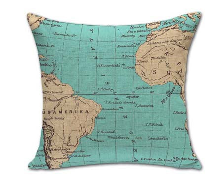 Online discount shop Australia - 18 Inches Square Vintage World Map Pillows Outdoor Cushion For Chairs Bedroom Decor Cotton Linen Home Textile No Core